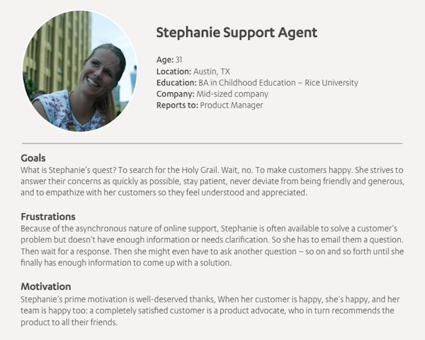 Persona of Stephanie, Support Agent