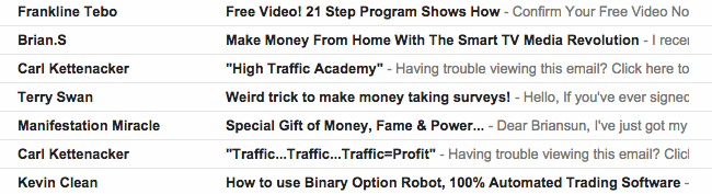 Spammy Subject Lines