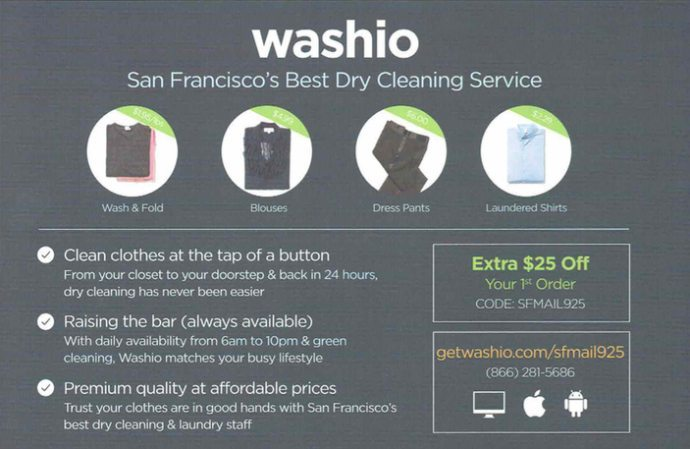 Washio direct mail example