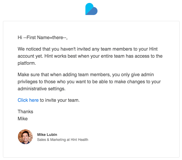 Hint Health user onboarding email