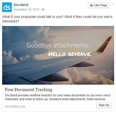 Docsend Facebook ad example