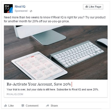 Rival IQ Facebook ad example