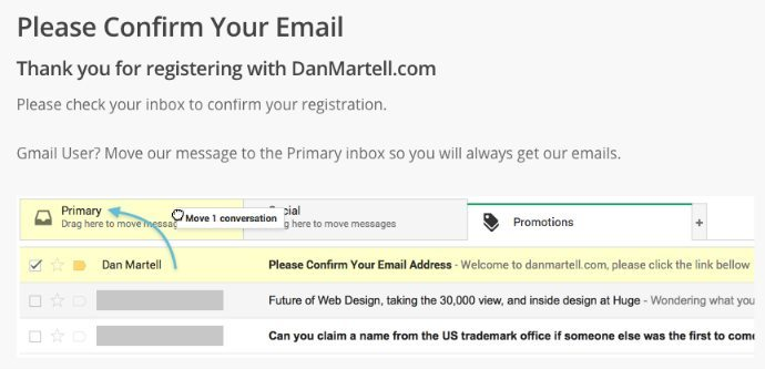 Move to primary inbox landing page example