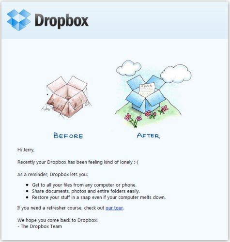 Dropbox expiry warning email example