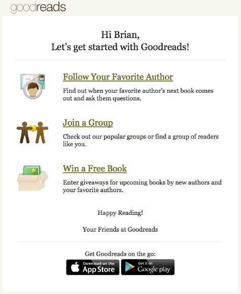 Goodreads welcome email