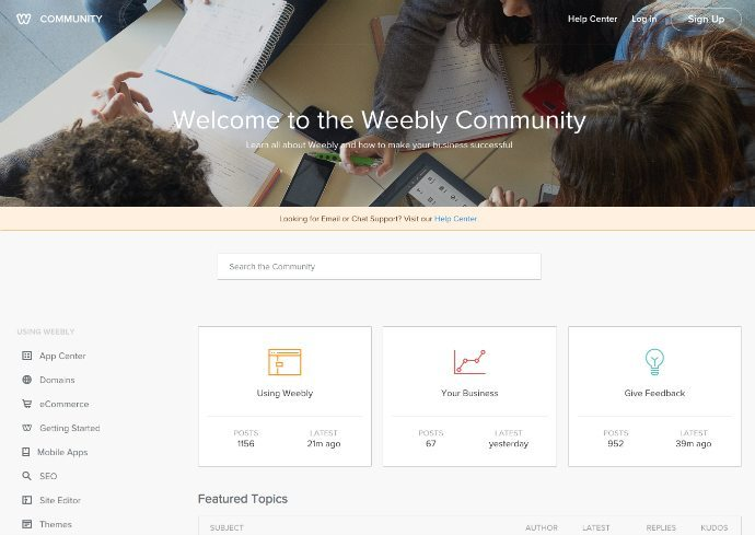 Weebly Community screenshot