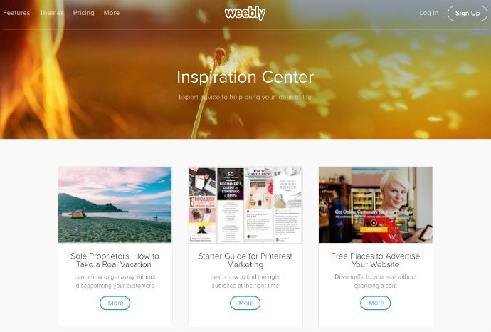 Weebly's Inspiration Center