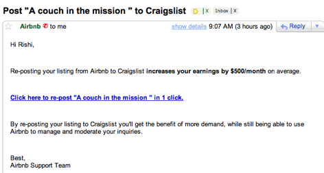 Airbnb Craig's List email