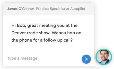Trade show on-website message