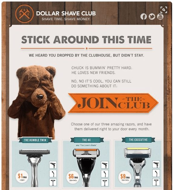 Dollar Shave Club email
