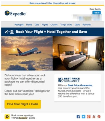 Expedia reminder email
