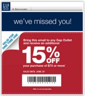 Gap promotional email